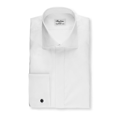 White Slimline Evening Shirt In Superior Twill