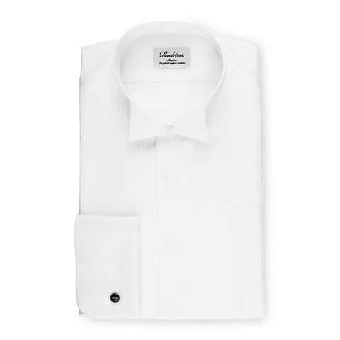 White Slimline Tuxedo Shirt With Wing Collar