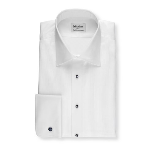 White Slimline Tuxedo Shirt, Extra Long Sleeves