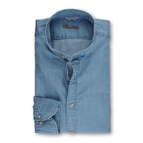 Washed Slimline Denim Shirt, Band Collar