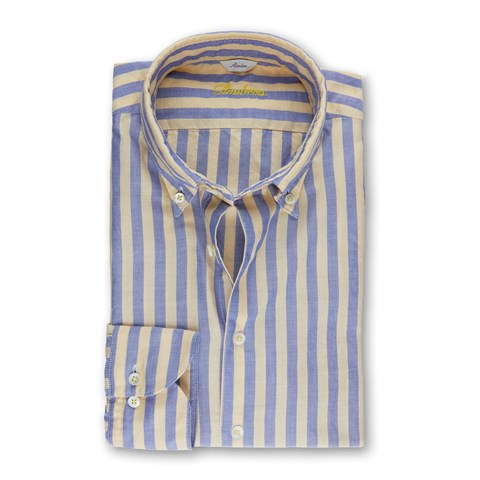 Yellow/Blue Striped Casual Slimline Shirt