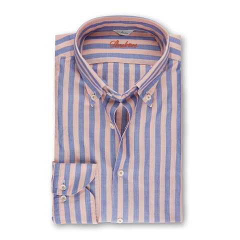 Peach/Blue Striped Casual Slimline Shirt