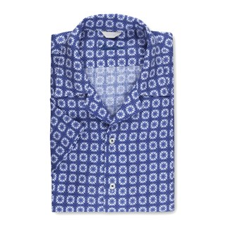 Blue Patterned Slimline Shirt w. Resort Collar