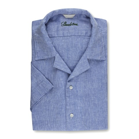 Blue Slimline Shirt w. Resort Collar