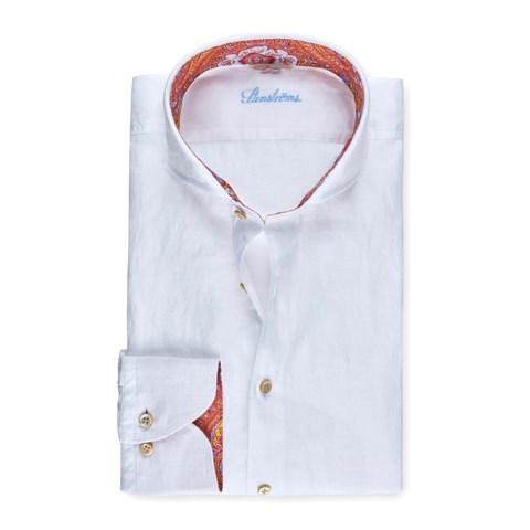 White Linen Slimline Shirt With Contrast