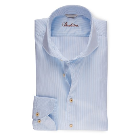 Light Blue Pinstriped Casual Slimline Shirt