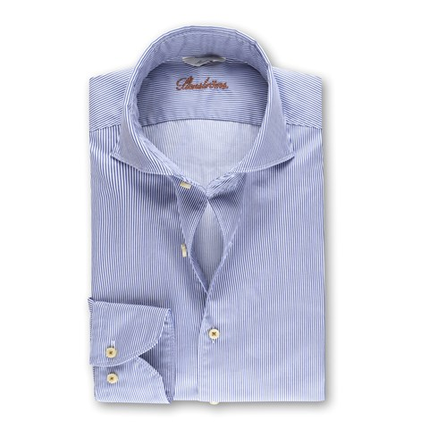 Slimline Casual Shirt Pinstriped Blue
