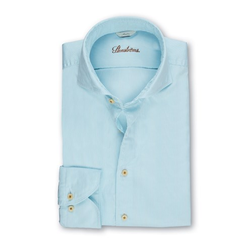 Turquoise Pinstriped Casual Slimline Shirt