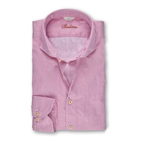 Fuchsia Pinstriped Casual Slimline Shirt