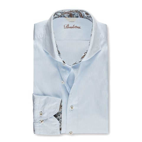 Pinstriped Casual Slimline Shirt W Contrast