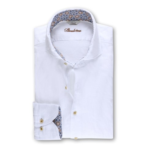 White Slimline Linen Shirt with Contrast