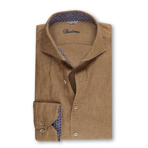 Brown Linen Slimline Shirt With Contrast