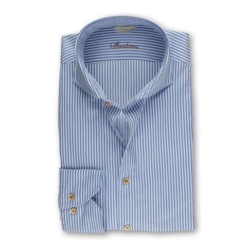 Blue Casual Slimline Shirt With Stripes