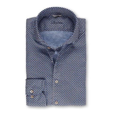 Blue/Brown Dotted Casual Slimline Shirt