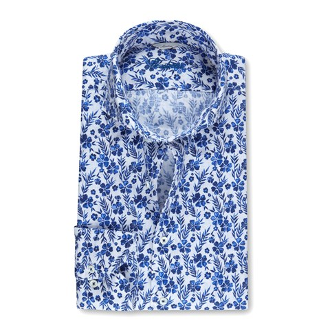 Flower Patterned Slimline Linen Shirt