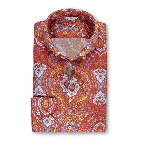 Orange Paisley Linen Slimline Shirt