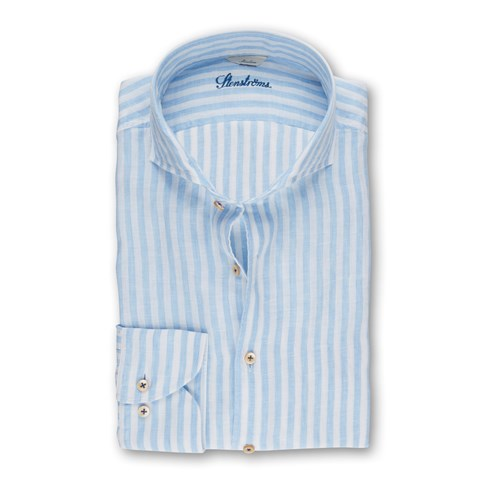 Light Blue Striped Slimline Linen Shirt