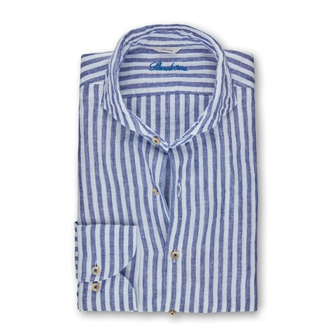 Navy Striped Linen Slimline Shirt