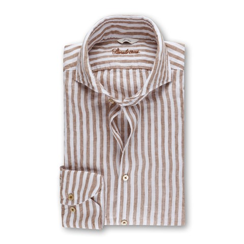 Striped Linen Slimline Shirt Beige