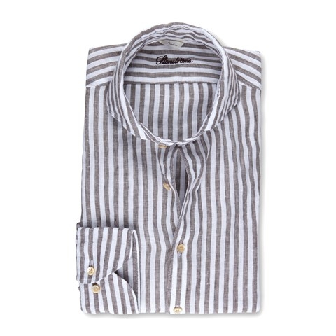 Brown Striped Linen Slimline Shirt