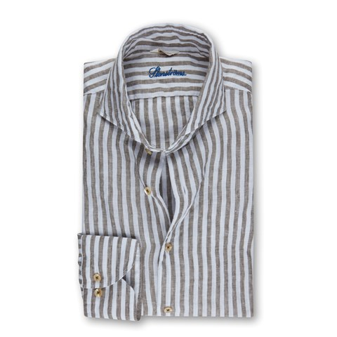 Green Striped Slimline Linen Shirt