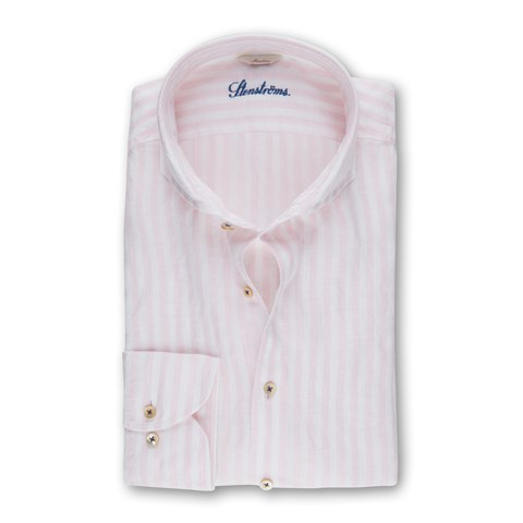 Pink Striped Slimline Linen Shirt