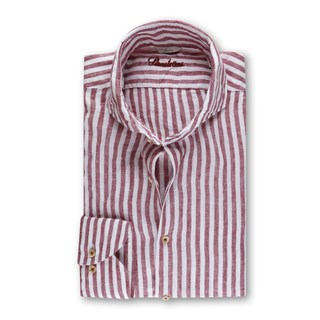 Striped Linen Slimline Shirt Red