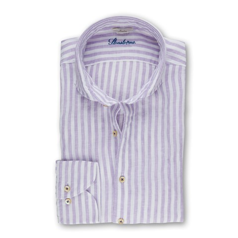 Purple Striped Slimline Linen Shirt