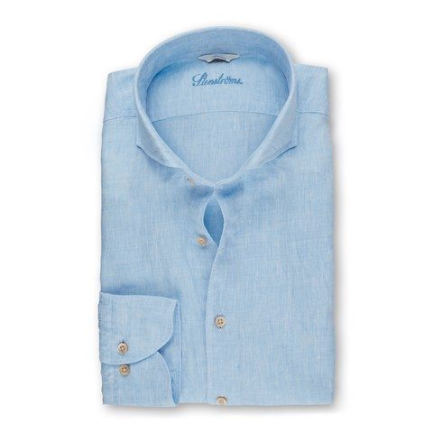 Light Blue Linen Slimline Shirt
