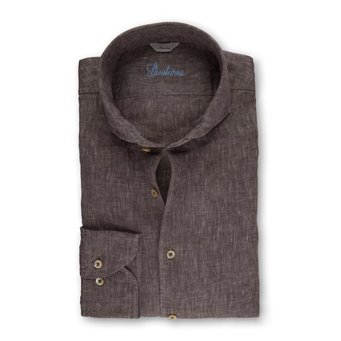 Brown Linen Slimline Shirt