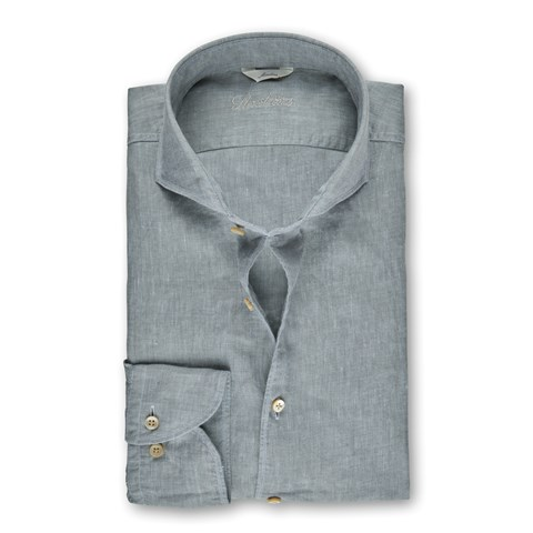 Clay Green Linen Slimline Shirt