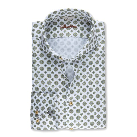 Green Medallion Patterned Casual Slimline Shirt