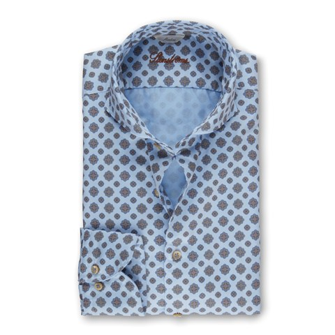 Light Blue Medallion Patterned Casual Slimline Shirt