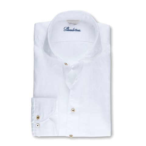 White Textured Casual Slimline Shirt