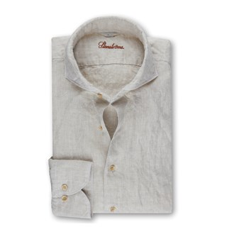 Slimline Linen Shirt Light Beige