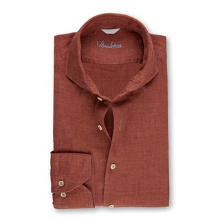 Brick Red Slimline Linen Shirt