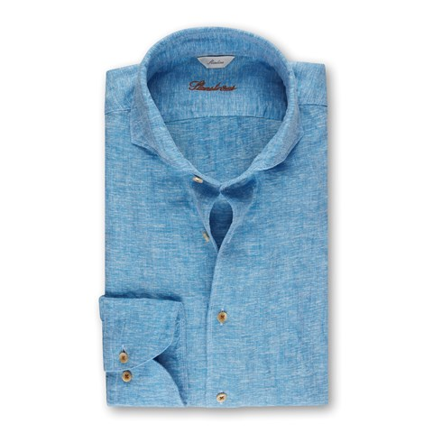 Slimline Linen Shirt Light Blue