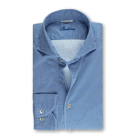 Blue Casual Micro Patterned Slimline Shirt