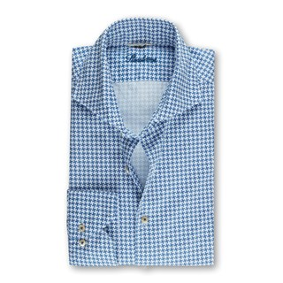 Blue Casual Houndstooth Slimline Shirt