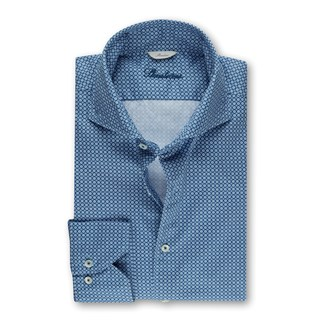 Blue Casual Patterned Slimline Shirt