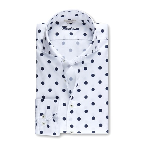Polka Dot Casual Slimline Shirt White