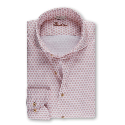 Casual Slimline Oxford Shirt Red Pattern