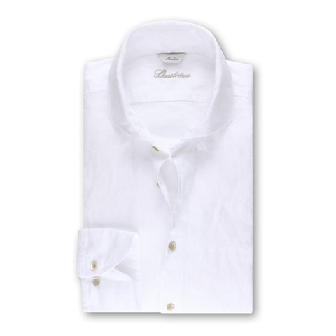 White Slimline Linen Shirt, XL-sleeves