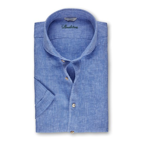 Light Blue Linen Slimline Shirt, Short Sleeves