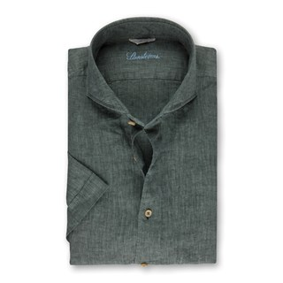 Forest Green Linen Slimline Shirt, Short Sleeves