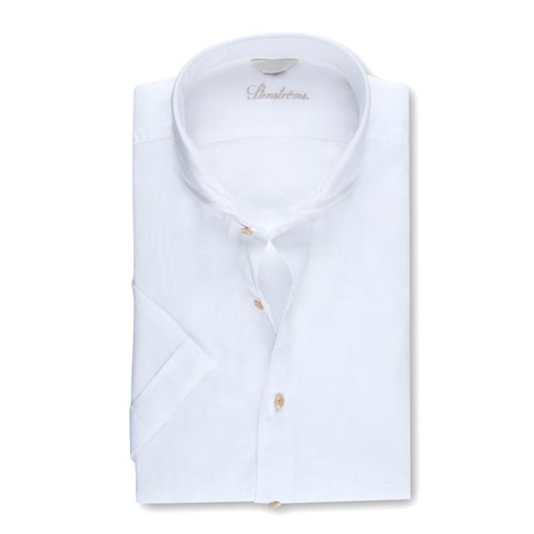 White Slimline Linen Shirt, Short Sleeves