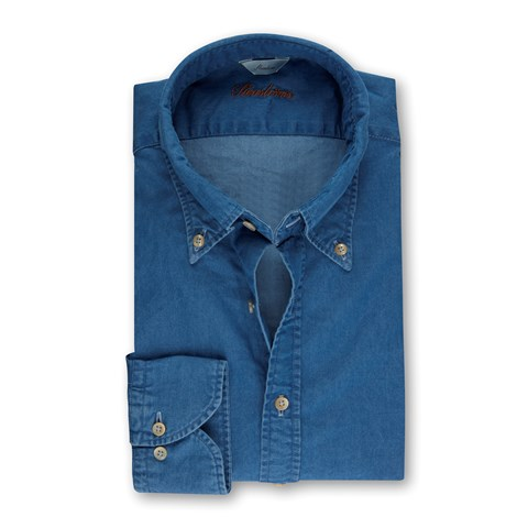 Denim Slimline Shirt w.Button Down
