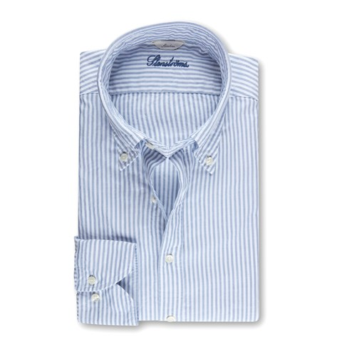 Slimline Casual Oxford Shirt Striped Blue