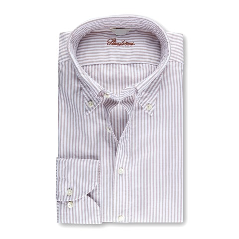Slimline Casual Oxford Shirt Striped Beige