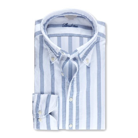 Slimline Casual Oxford Shirt Block Striped
